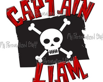 Personalized PIRATE Flag Crossbones Boys t shirt black red stripes Captain Birthday Party Tee