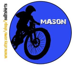 Personalized MOTOCROSS biker racing boys T shirt dirt bike ATV Silhouette