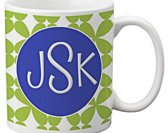 CUSTOM personalized Coffee Mug Cup for Kitchen or Home Blue Green Delphine Lattice pattern Any color monogram