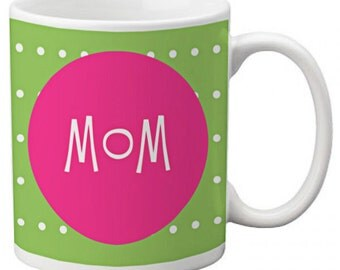 CUSTOM personalized MOM Coffee Mug Cup Kitchen Home Green White Polka Dots with Hot Pink any color monogram