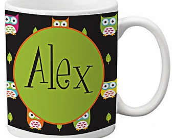 CUSTOM personalized MOM Coffee Mug Cup Kitchen Green Black Multi Color Retro Owl any color monogram