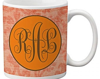 CUSTOM personalized MOM Coffee Mug Cup Orange Vintage Floral any color monogram