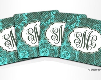 Custom PERSONALIZED Monogram COASTERS - Set of 4 - Green Teal Blue Pastel Pattern - any color name initials