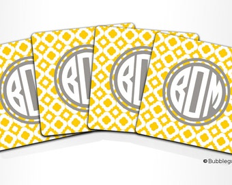 Custom PERSONALIZED Monogram COASTERS - Set of 4 - Yellow Gray Lattice Geometric Pattern - any color name initials
