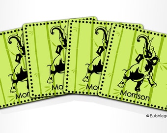 Custom PERSONALIZED Monogram COASTERS - Set of 4 - Lime Green Elephant Bamboo - any color name initials