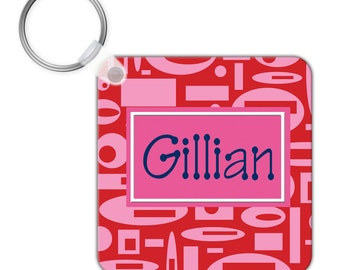 Custom Personalized KEYCHAIN Red Pink Blue Geometric Pattern - SQUARE or CIRCLE - Monogram name initials