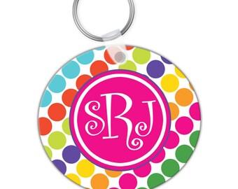 Custom Personalized KEYCHAIN Hot Pink Rainbow Stripe Polka Dots - CIRCLE or SQUARE - Monogram name initials