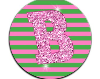 Personalized MOUSEPAD Custom CIRCLE or RECTANGLE Pink Green Stripes Glitter Bling  - any monogram name initial Office Home Computer