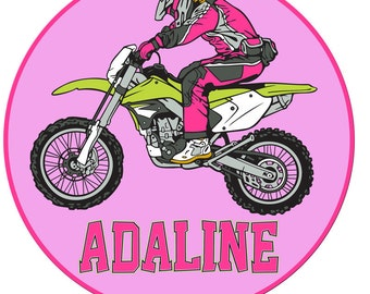 Personalized Custom GIRL MOTOCROSS motorcycle Birthday Party Name Age Pink Hot pink Girl T shirt Tee dirt bike