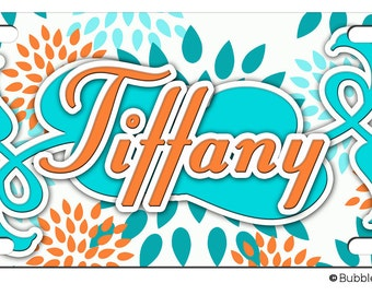 PERSONALIZED LICENSE Plate Light Blue Orange Teal Floral Pattern CUSTOM Car Tag Name Any Color Monogram