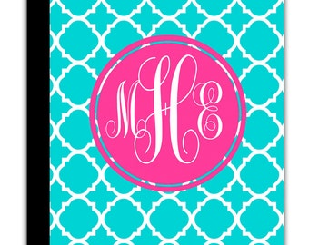 Custom Personalized IPAD 2 3 New cover book case monogrammed name Blue Lattice Geometric pattern ANY color monogram