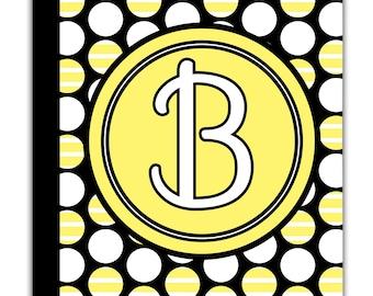 PERSONALIZED IPAD 2 3 New  folio CASE  Black Yellow Polka Dot  pattern Circle Initial Name Custom any color monogram design