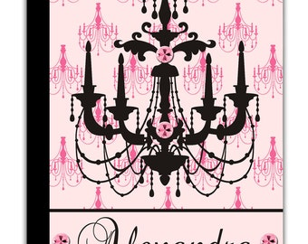 PERSONALIZED IPAD 2 3 New  folio CASE Light Pink Black Chandelier pattern Band Name Custom any color monogram design