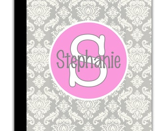 PERSONALIZED IPAD 2 3 New  folio CASE Light Gray Damask pattern Pink Band Initial Letter Name Custom any color monogram design