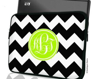 "Custom MACBOOK LAPTOP Sleeve Black Chevron Green Monogram 11"" 12"" 13"" 14"" 15"" - Personalized Monogram - Design Printed on Front AND Back"