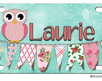 PERSONALIZED LICENSE Plate  Owl Roses Clothesline Banner Vintage look custom Car Tag Name Any Color Monogram