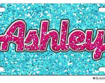 PERSONALIZED LICENSE Plate GLITTER Bling Pattern Girly Princess custom Car Tag Name Any Color Monogram