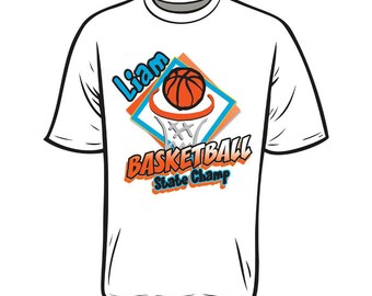 Personalized BOYs BASKETBALL T shirt name Age Birthday Party Tee ANY colors available