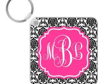 Custom Personalized KEYCHAIN Black Hot Pink Damask Pattern - CIRCLE or SQUARE - Monogram name initials