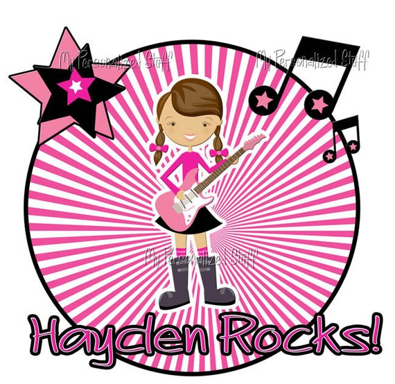 Personalized ROCKER rock star Girls T shirt Tee with Name Birthday Music band