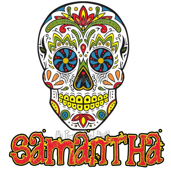 Personalized Custom sugar skull day of the dead girls womens T shirt pink or white