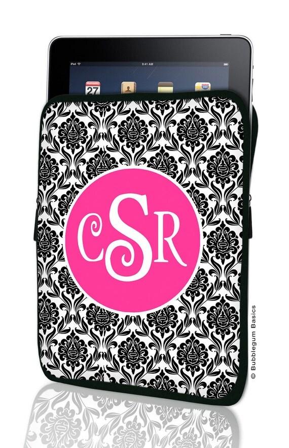 CUSTOM iPad SLEEVE 1, 2, New, 3 Black Damask Hot Pink Personalized Monogram