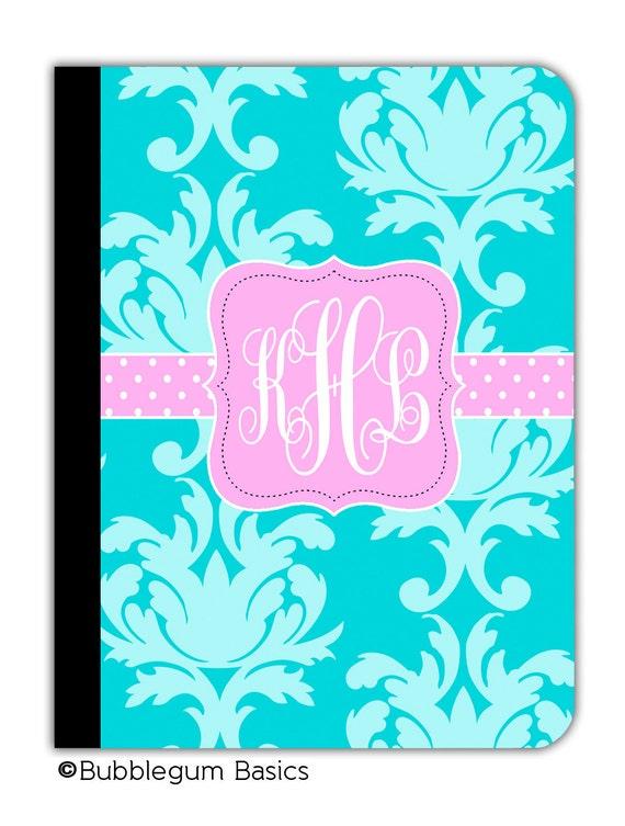 PERSONALIZED IPAD 2 3 New  folio CASE  Blue Damask pattern Pink Polka Dots Flourish Initials Custom any color monogram design