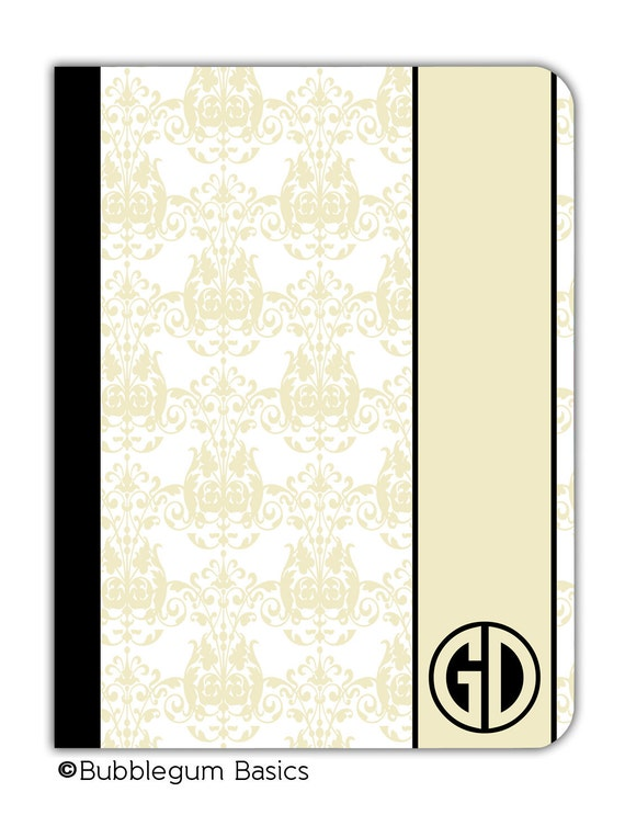 PERSONALIZED IPAD 2 3 New  folio CASE Cream Beige Damask pattern Band Circle Initials Custom any color monogram design
