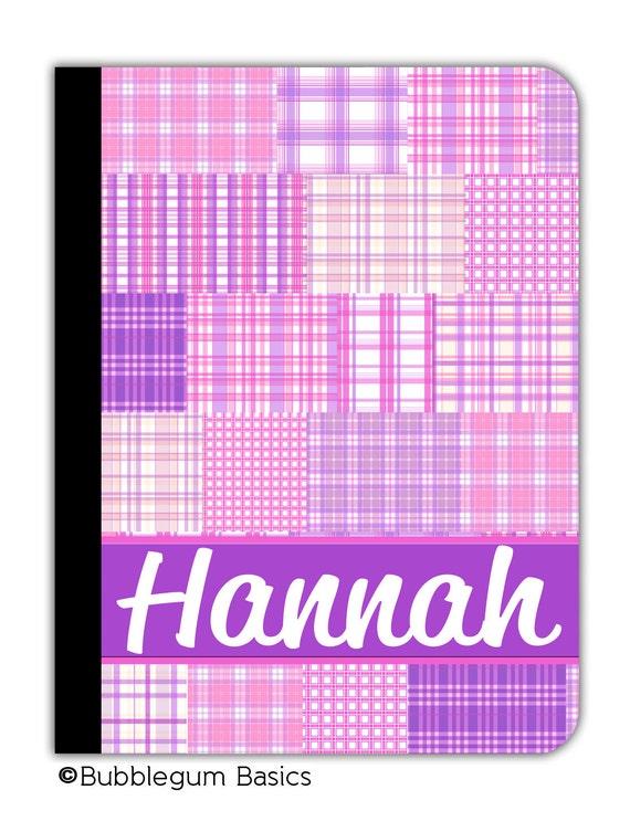 PERSONALIZED IPAD 2 3 New folio Case Pink Plaid pattern Purple Band Script Name Custom any color monogram design