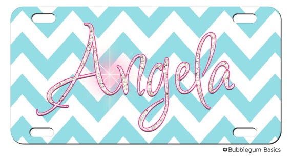 PERSONALIZED LICENSE Plate Chevron stripes BLING Glitter Pattern custom Car Tag Name Any Color Monogram
