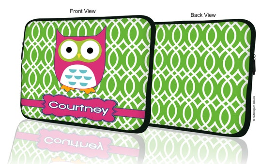 "Custom LAPTOP MACBOOK Sleeve Green Pattern Owl Name Monogram 11"" 12"" 13"" 14"" 15"" - Personalized Monogram - Design Printed on Front AND Back"