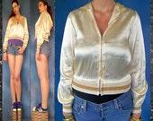GENUINE Rare Vtg 1970s Champagne Satin Zippered ROLLER GIRL Disco Jacket Hoodie Sweatshirt
