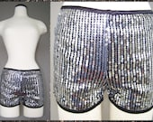 Vtg 1980s 90s Silver Black METALLIC Sequin Disco Shorts HOT PANTS m l