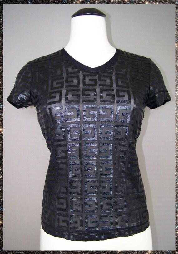 Vtg 1990s SHEER Glossy Rubberized Rubber MESH Black GUESS Shirt Top xs s