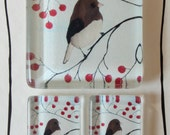 Bird in Berries -  Glass Tile Magnet Set of 3 Extra Strong