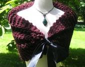 Hand Knit Shawl / Bride Bolero / Stole / Burgundy / Vintage Inspired / Size Small / Ready to Ship