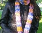 Hand Knit Scarf / Sunset Sky / Hand Spun Yarn / Multicolor Scarf / Long Scarf