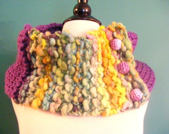 Infinity Scarf/Cowl Scarf/Scarf with Buttons/Hand Knit Cowl/Circle Scarf/Handspun Yarn Cowl/Chunky Cowl/Hand Knit Cowl/Hand Knit Scarf/Scarf