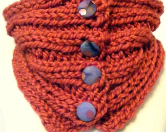 Knit Infinity Scarf/Cowl Scarf/Rust Cowl/Infinity Scarf/Orange Scarf/Circle Scarf/Fall Scarf/Winter Scarf/Fall Cowl/Hand Knit Cowl/Accessory