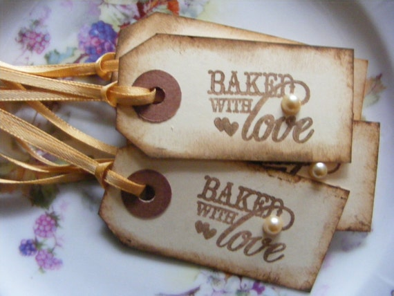 Gift Tags / Baked With Love / Hand Stamped Tags (Set of 6)