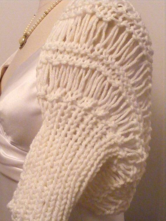 Wedding Shrug / Bridal Shrug / Bolero / White Shrug / Wedding / Shrug / Hand Knit Shrug / Bridal / Shawl / Bolero