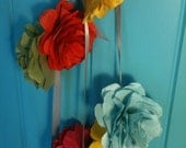 Paper Flower Party Garland in jewel colours