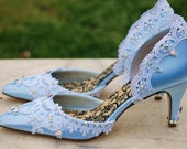 Blue bridal shoes the Cinderella