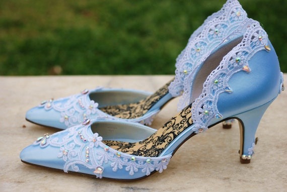 Items Similar To Blue Bridal Shoes The Cinderella On Etsy