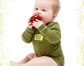 Organic baby clothes, organic onesie, moss green, garden gnome, funny, designer