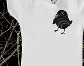 Organic baby clothes, baby raven / crow onesie, natural and adorable, baby bird, onesie, boy or girl, baby shower