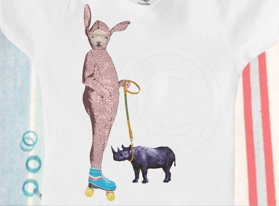 Organic baby clothes, organic onesie / bodysuit, lamb in bunny costume on rollerskates with rhinoceros