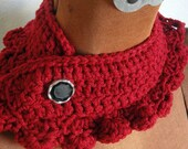Ridiculously Red Neckwarmer with Vintage Buttons