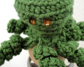 ON HOLD for Tracy Mossy Green Octopus Crochet Finger Puppet