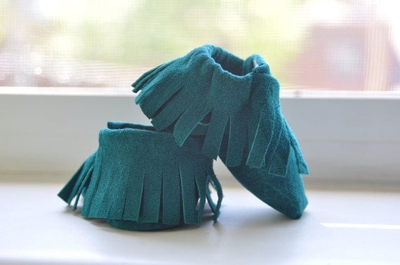 Teal Moccasins, Recycled Leather, Soft Sole Shoes